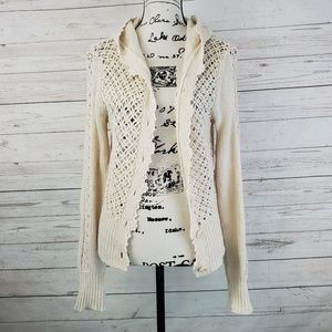 Anthropologie Sleeping on Snow Crochet Cardigan